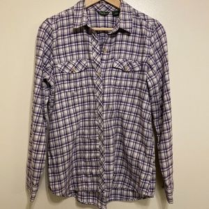 Eddie Bauer Purple Plaid Long-Sleeved Shirt